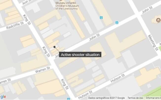 Área da cidade de Charlestone, na Carolina do Sul, está cercada de agentes de segurança