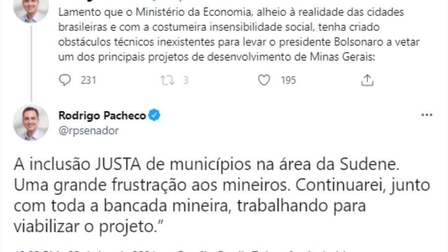O presidente do Senado, Rodrigo Pacheco (DEM - MG), se manifestou contrariamente à decisão do Ministério da Economia nesta quarta-feira (23)