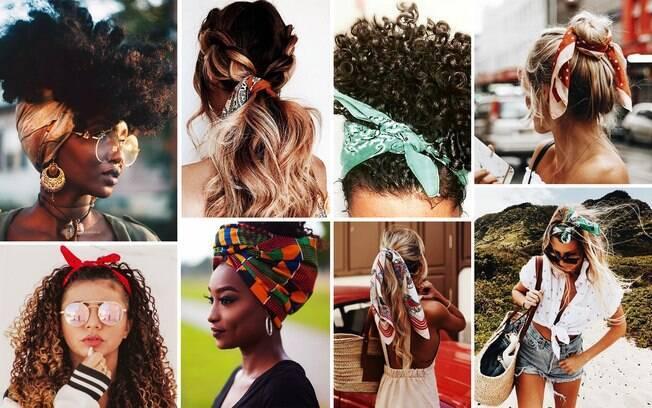 O lenço e bandana ganha novas propostas quando amarrados no cabelo