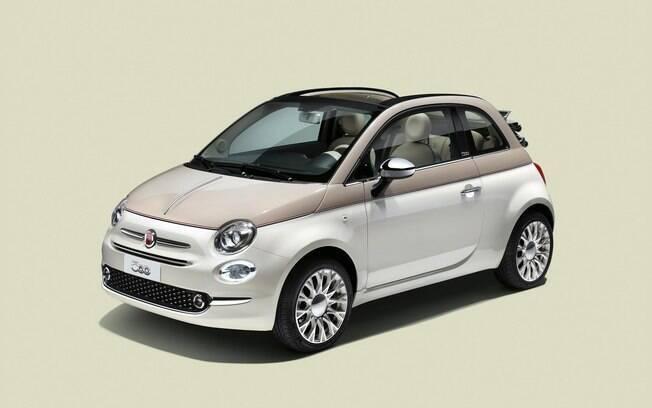 Fiat 500 Sessantesimo vem com pintura bege e branca com friso acizentado bem no meio da carroceria