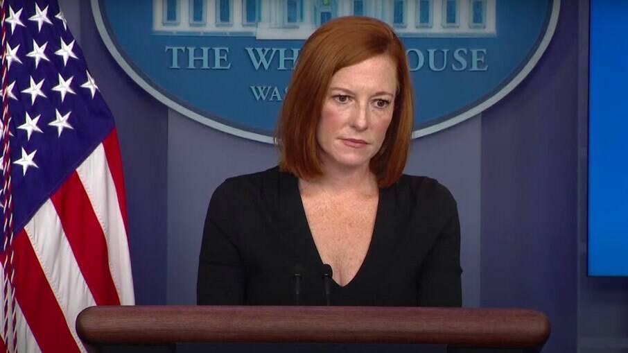 A secretária de imprensa da Casa Branca, Jen Psaki, fala sobre a situação no Afeganistão