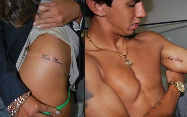 Nicole Bahls e Victor Ramos exibem as tatuagens que fizeram em homenagem um ao outro: prova de amor