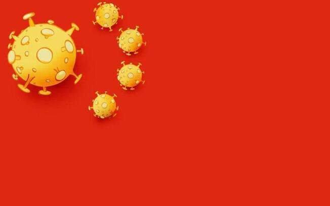 Na charge, vírus da doença substituem as estrelas da bandeira chinesa