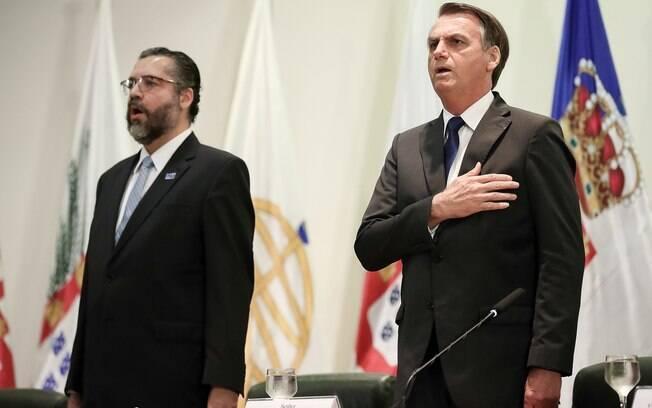 Ernesto Araújo discursou em evento que teve a presença do presidente Jair Bolsonaro