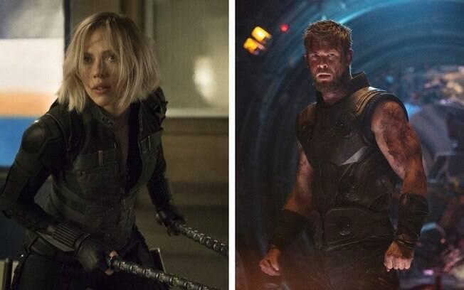 """Johansson e Hemsworth em franquia de """"Vingadores"""". Eles investiram em treinos pesados e dietas para personagens"""