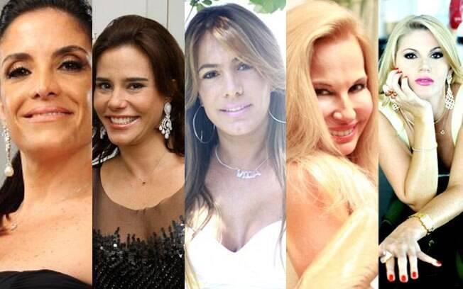 Lydia Leão Sayeg, Narcisa Tamborindeguy, Débora Rodrigues, Brunete Fraccaroli e Val Marchiori
