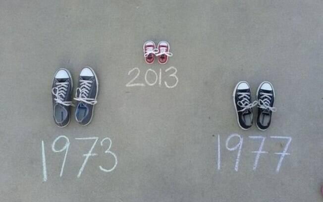 Com os objetos pessoais do casal, monte uma foto mostrando as datas de nascimento