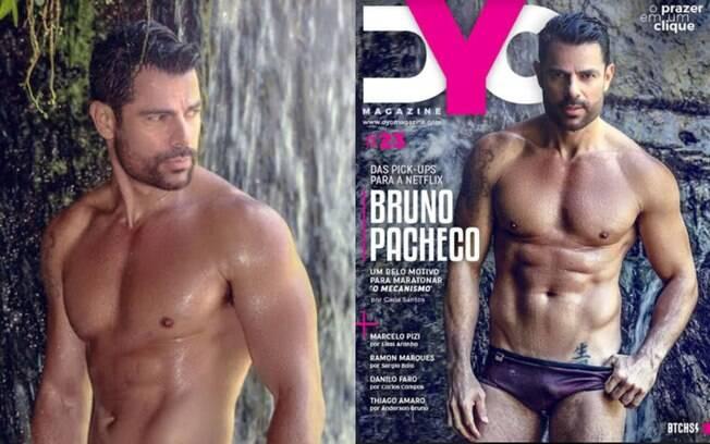 Bruno Pacheco posa só de sunga para revista