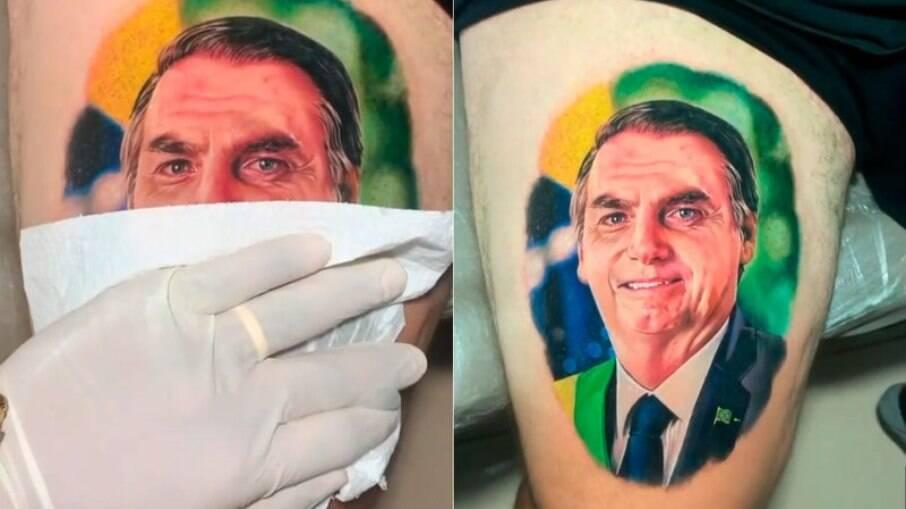 Homem tatua rosto de Jair Bolsonaro na coxa