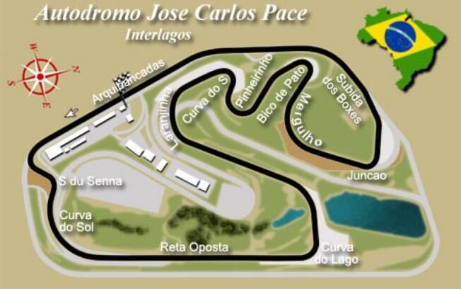 Traçado do Autódromo de Interlagos com os nomes das curvas, onde passei dos 180 km/h nas retas