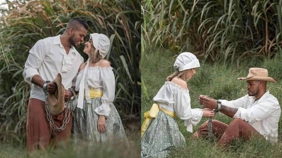 Casal faz ensaio de casamento com o tema de escravidão