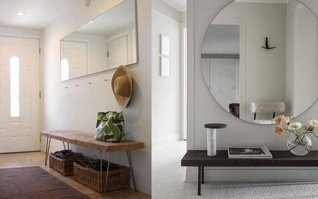 Espelhos em diferentes formatos ou tamanhos, combinados com bancos e apoios, trazem funcionalidade e charme