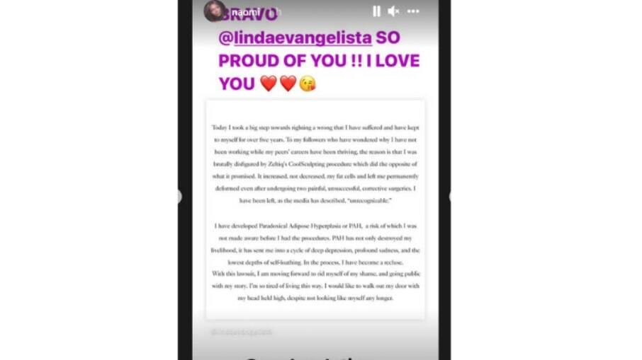 Naomi Campbell presta apoio à Linda Evangelista