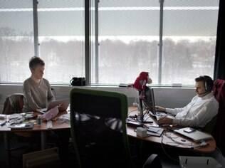 Marc Dillon e Stefano Mosconi nos escritórios da Joola, em Helsinque