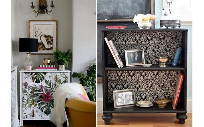 Sobras de papel de parede podem facilmente servir para dar uma cara nova a gaveteiros e estantes