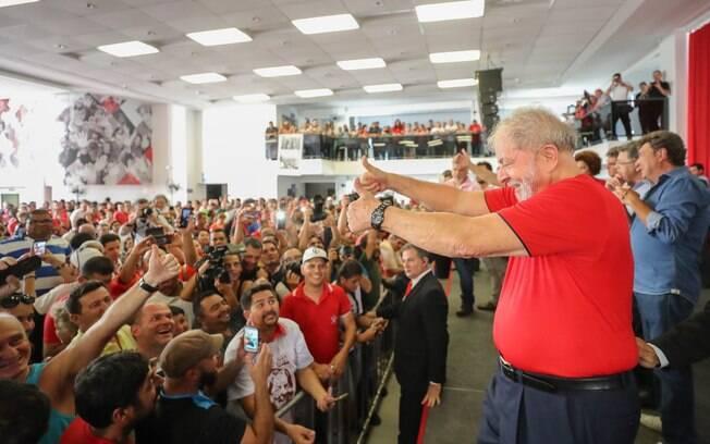 Ex-presidente Lula no Sindicato dos Metalúrgicos, na região Metropolitana de São Paulo