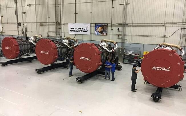 Motores da primeira espaçonave do projeto Artemis, que tem o objetivo de mandar uma mulher à lua até 2024