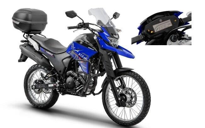 A Yamaha XTZ 250 Lander com o kit Touring. No detalhe, o novo painel de instrumentos