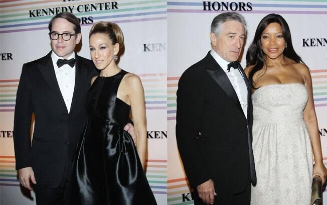 Na esquerda, a atriz Jessica Parker com o marido, o ator Matthew Broderick. Na direita, o ator Robert de Niro e a esposa, Grace Hightower