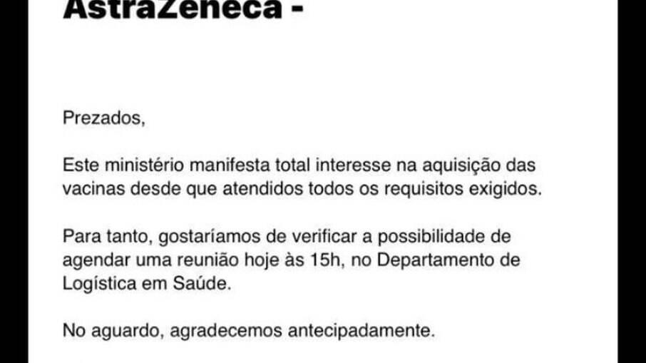 E-mail do Ministério da Saúde em resposta à proposta da Davati