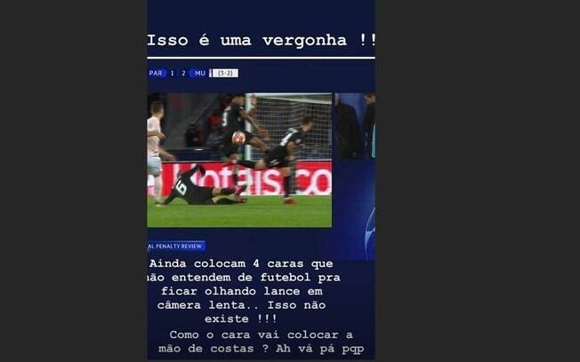 Neymar publicou críticas a arbitragem do jogo contra o United e virou alvo de investigação da Uefa