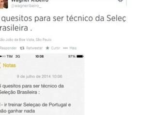 Wagner Ribeiro fez lista com duras críticas ao técnico Felipão