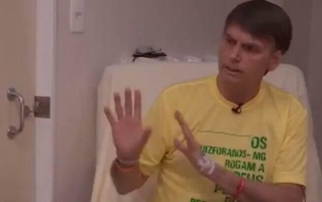 Candidato do PSL, Jair Bolsonaro foi entrevistado pelo apresentador Luis Datena de dentro do quarto do hospital Albert Einstein