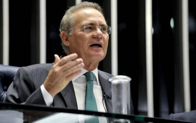 O presidente do Senado Renan Calheiros (PMDB-AL) comanda a sessão deliberativa que vota a admissibilidade do processo de afastamento da presidente Dilma Rouseff. Foto: Jane de Araújo/Agência Senado - 11.05.2016