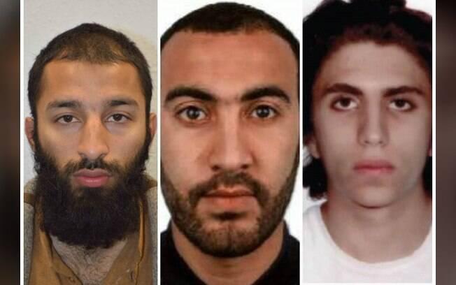 Da esquerda para a direita: Khuram Shazad Butt, Rachid Redouane e Youssef Zaghba, autores de ataques em Londres