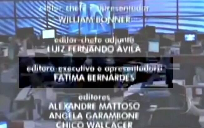 O nome de Fátima Bernardes nos créditos do programa apresentado por Patrícia Poeta