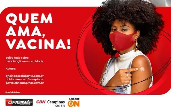 Oficina do Estudante, ACidade ON e rádio CBN juntas em Quem Ama, Vacina!
