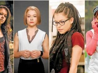 Múltipla. Tatiana Maslany encarna (da esquerda para a direita) Sarah, Rachel, Cosima, Alison e pelo menos três outros clones na série