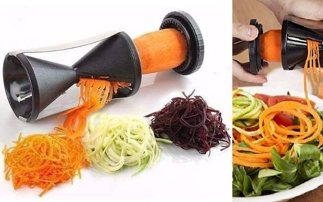 Descascador e fatiador de legumes espiral - R$ 12,90
