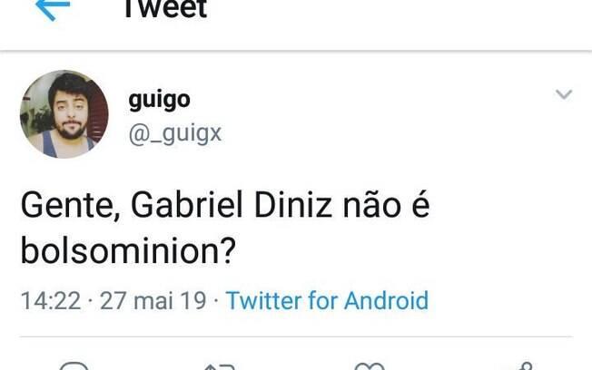 Tuíte relacionado a Gabriel Diniz