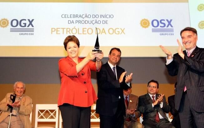 Presidente Dilma Rousseff durante cerimônia de celebração do início da produção de petróleo da OGX, em São João da Barra (abril de 2012). Foto: Presidência da República
