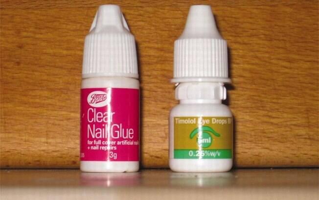 O frasco de supercola para unhas postiças (esquerda) e a embalagem de colírio Timodol (direita) do idoso britânico