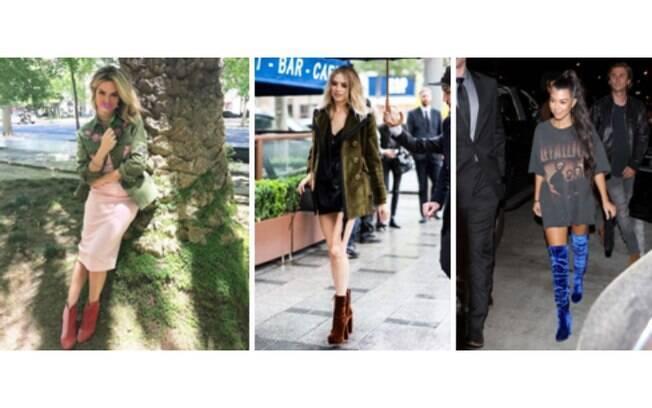 Bota de veludo com vestido pode criar um look romântico ou um mais sensual