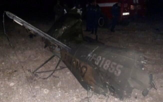 Imagem do helicóptero militar russo Mi-24 abatido na Armênia