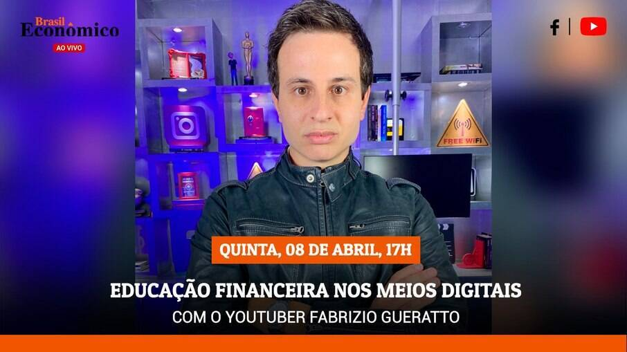 O youtuber e financista Fabrizio Gueratto será o entrevistado da live do Brasil Econômico ao Vivo desta quinta-feira (7)