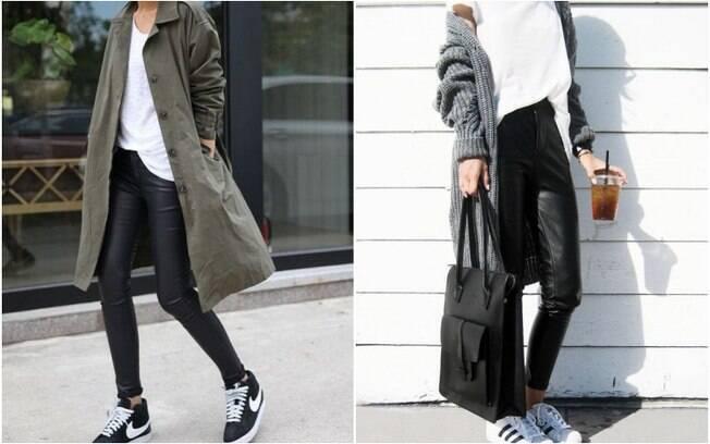 Calças de couro também são peças-chave quando se fala em estilo roqueiro e, assim como as saias, elas são bem versáteis