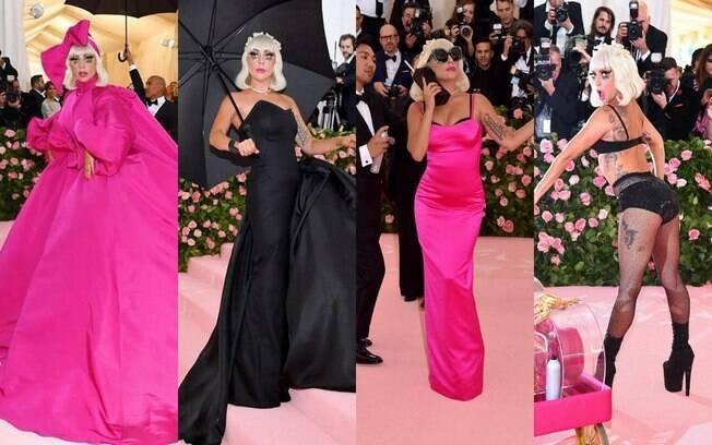 Lady Gaga fez uma verdadeira apresentação ao passar pelo tapete rosa do Met Gala 2019 e trocou de roupa quatro vezes