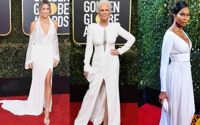 A cor branca foi a escolha de  Renee Bargh, Jamie Lee Curtis e Dominique Jackson para a noite do Globo de Ouro