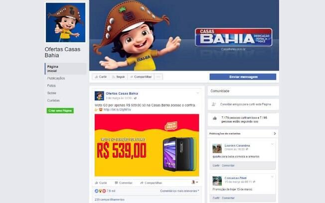 Cibercriminosos criam páginas no Facebook para divulgar ofertas falsas de marcas como Casas Bahia e Ponto Frio