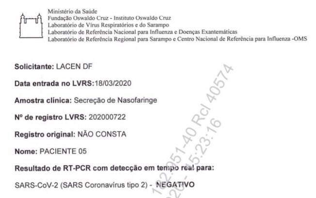 Terceiro exame entregue ao Supremo Tribunal Federal, em processo sobre testagem de Jair Bolsonaro