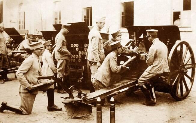 Bateria Krupp, de 75 mm.