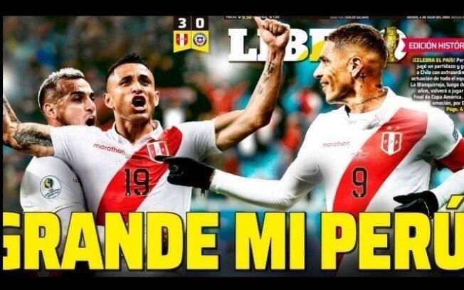 Capa do jornal Libero, do Peru, após a vitória da seleção peruana sobre o Chile na semifinal da Copa América