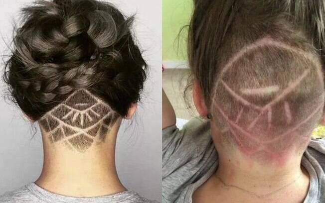 Mulher pede corte undercut como da imagem à esquerda, mas resultado (foto à direita) sai bem diferente do esperado
