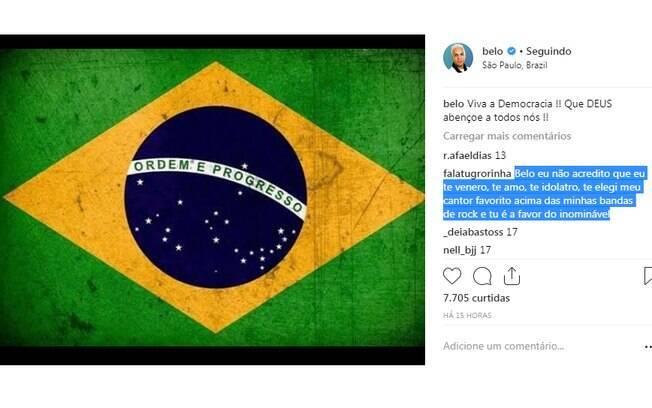 Belo publica foto da bandeira do Brasil e enaltece democracia