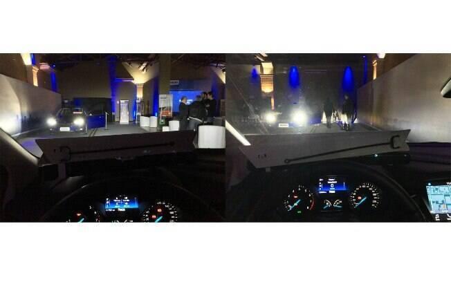 À esquerda, num carro com faróis de LED de segunda. Veja a luminosidade dentro do outro que vem. À direita, um clarão
