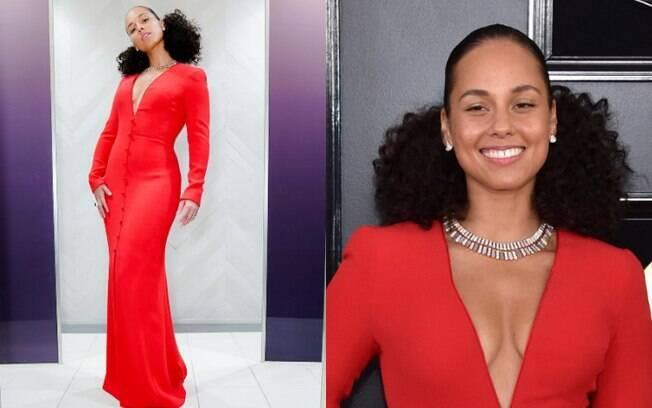 Looks das famosas: Alicia Keys foi a apresentadora do Grammy Awards e apareceu com um vestido longo Armani Privé